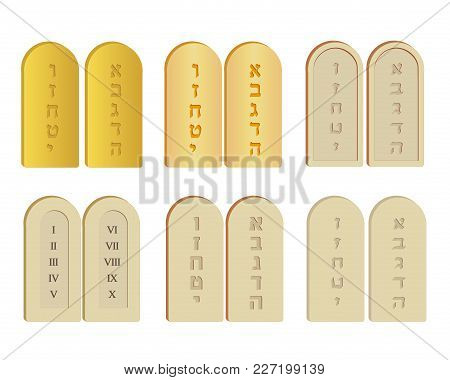 Tablets Of Stone Set, Tables Of The Law, Tablets Of Testimony, Ten  Commandments, Two Stone Tablets With First Ten Letters Of The Hebrew  Alphabet, ...