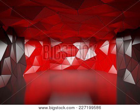 Abstract Polygonal Futuristic Hall, Geometric Architecture. 3d Illustration
