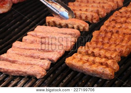 Closeup With Romanian Minced Meat Cooked On Grill