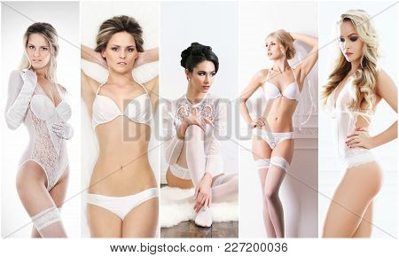 Bridal Lingerie Collection. Young, Beautiful And Sexy Girls Posing In White Underwear. Spring Concep