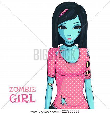 Zombie Girl On White Background. Zombie Apocalypse. Sad Girl In Pink Shirt