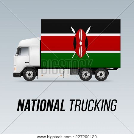 Symbol Of National Delivery Truck With Flag Of Kenya. National Trucking Icon And Kenyan Flag