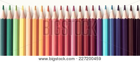 Web Banner Of Colored Pencils Series Background