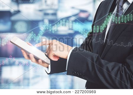 Businessman Using Smartphone On Abstract Forex Background. Investment And Report Concept. Double Exp