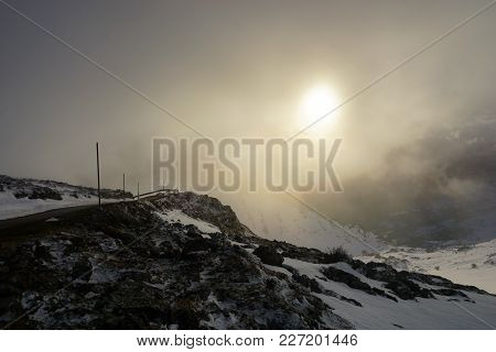 Winter In The Mountains. Increible And Impressive Scenary. Increible And Impressive Sunset In The Mo