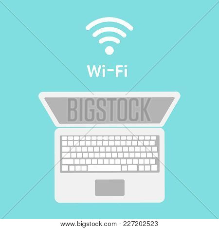 Wi-fi Icon On Laptop Screen. Wireless Technology, Wifi Connection, Wireless Network, Hotspot Concept