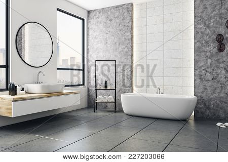 Modern Bathroom Interior With City View And Blank Poster On Wall. Design And Style Concept. Mock Up,