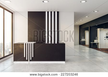 Modern Reception Desk With Copy Space In Office Interior With City View. 3d Rendering