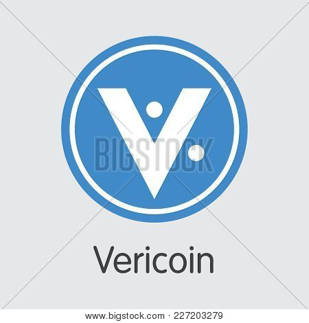 Vericoin - Crypto Currency Icon. Vector Coin Image Of Crypto Currency Icon On Grey Background. Vecto