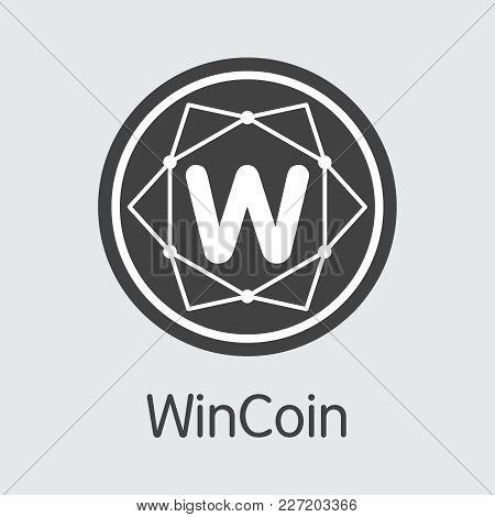 Wincoin: Blockchain Based Secure Virtual Currency. Isolated On Grey Wc Vector Icon.