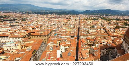 Cityscape From Height, Roofs Of Red Tiles And Narrow Streets Of Florence, Italy.