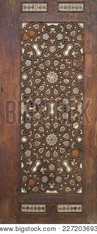 Ottoman Style Wooden Ornate Door Leaf Tongue And Groove Assembled Inlaid With Ivory, Ebony And Bone,