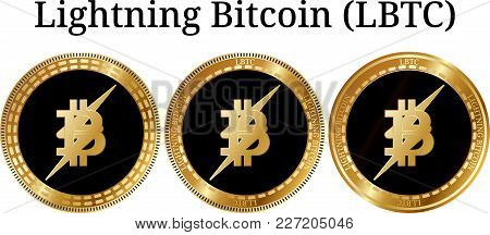Set Of Physical Golden Coin Lightning Bitcoin , Digital Cryptocurrency. Lightning Bitcoin Futures Ic