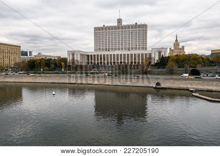 Moscow, Russia. October,24.2017: The House Of The Government Of The Russian Federation (white House)