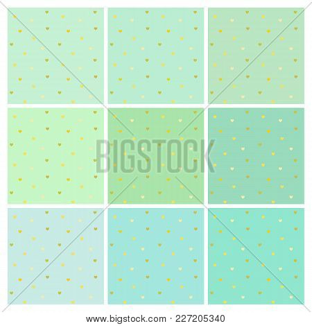 Set Of Vector Seamless Light Blue Backgrounds With Shiny Small Golden Hearts. A Collection Of Endles