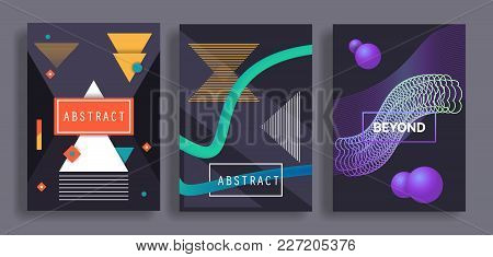 Geometric Covers Set With Dinamic Gradients Fluid Shapes. Vector Illustration Eps 10