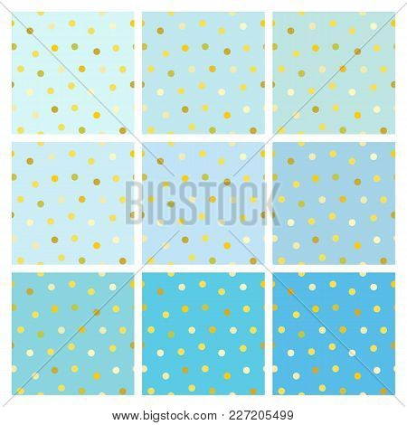 Set Of Vector Seamless Light Blue Backgrounds With Shiny Golden Round Dots. A Collection Of Endless