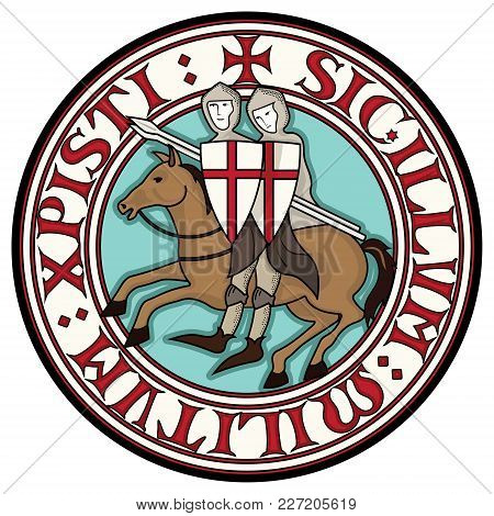 Sign Of The Knight Templars. Two Knight Crusader On Horseback With Spears, In A Circle From The Text