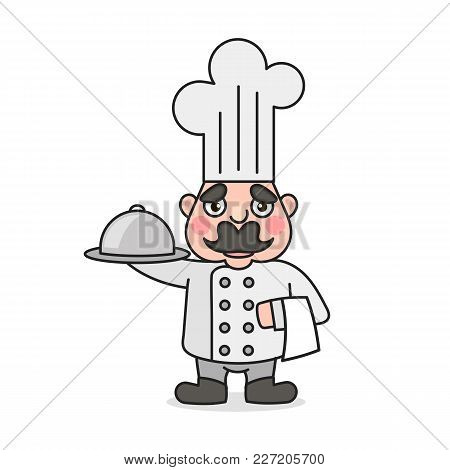 Simple Cartoon Male Cook With Chef Hat. Cooking Character Icon Or Logo, Vector Illustration.