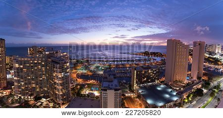 Panorama Of The Waikiki Night Sky At Sunset Including The Ala Wai Small Boat Harbor, Magic Island, P