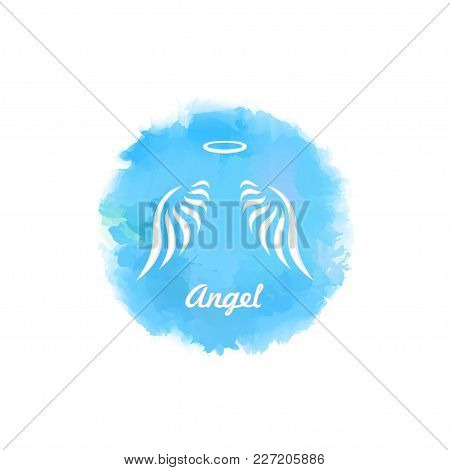 Wings of the Angel and a halo in the sky, imitating watercolor, as a template for a logo, emblem, poster, business card poster