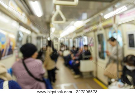 Blurred Image Of People In Subway Train At Train Station, Transportation, People, Rush Hour And Trav