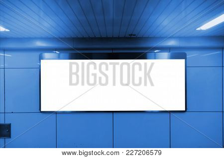 Big Blank Advertising Billboard Or Light Box Showcase On Wall At Subway Train Station, Copy Space Fo