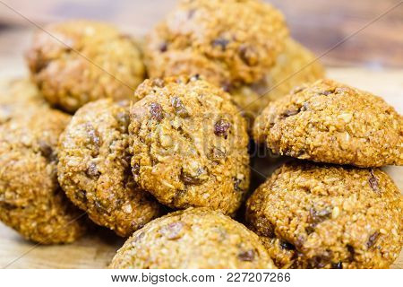 Close Up Homemade Oatmeal Cookies With Raisins