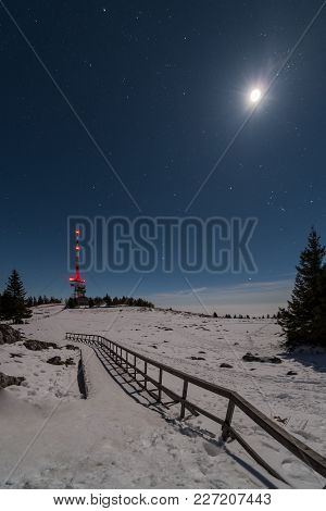 Accessibility Wheelchair Ramp Way To Transmitter Station Tower On Snow Covered Mountain Schoeckl