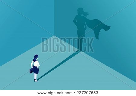 Businesswoman With Superhero Shadow Vector Concept. Isometric Eps10 Vector Illustration. Business Sy