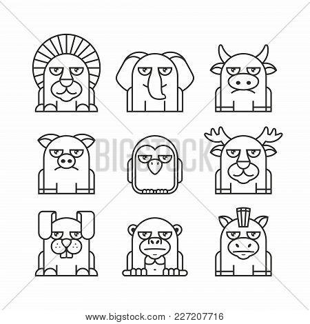 Animals Set, Thin Line Style, Flat Design. Lion, Elephant, Cow, Pig, Penguin, Deer, Hare, Monkey, Do