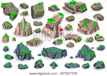 Stone Rock Vector Rockstone Of Rocky Mountain In Rockies Mountainous Cliff With Stony Geological Mat