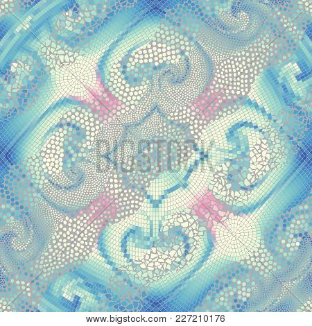 Ornate Seamless Texture Background. Diagonal Waves Of Ornamental Mosaic Tile Patterns. Different Tex