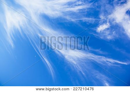 Blue Sky With White Clouds. Natural Background