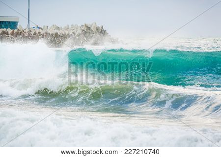 Blue Wave In Ocean. Ocean Swell For Surfing