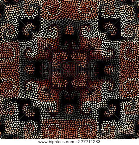 Ethnic Boho Seamless Pattern In African Style On Black Background. Tribal Art Print. Irregular Polka