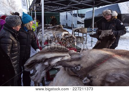 Jokkmokk, Sweden On February 03. View Of A Stand On The Market Days On February 03, 2018 In Jokkmokk