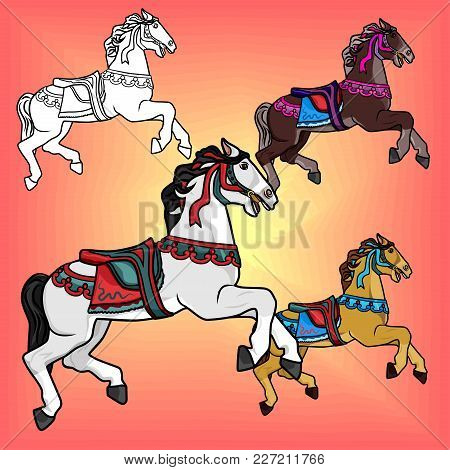 Set Of Beautiful Stallions In Colorful Bright Harness That Jumps On A Pink Background. Vector Horse