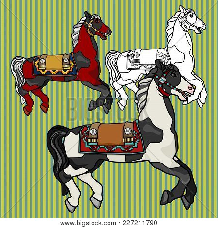 Beautiful Horse In Spots On A Striped Background. Set Of Three Multi-colored Vector Characters Of St