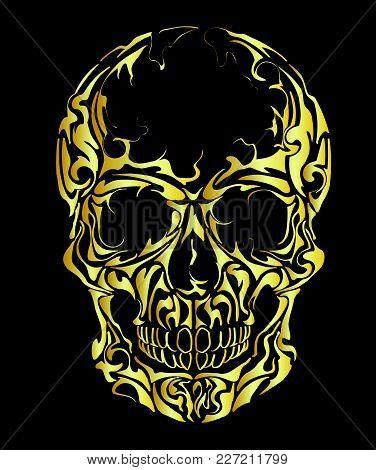Skull On Black Background, Warning Sign. Gold Scull.
