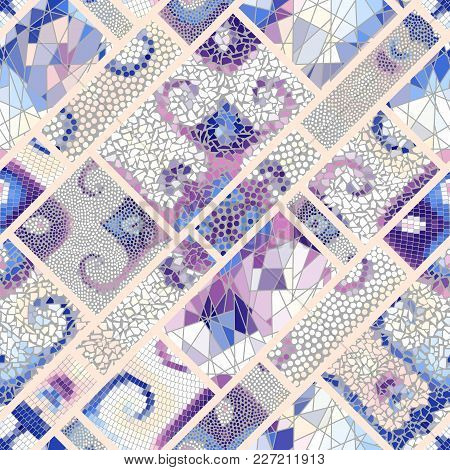 Seamless Background Pattern. Mosaic Art Pattern Of Rectangles Of Different Tile Textures.