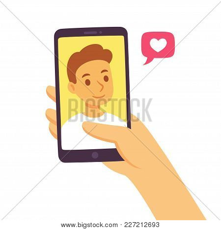 Video Call With Loved One. Female Hand Holding Smartphone With Boyfriend On Screen. Online Dating, L