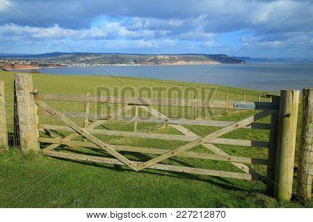 Wooden Farmland Fence On The Public Footpath Of South West Coast Path Near Seaton In Devon