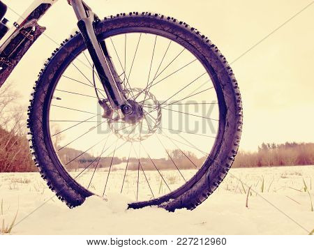 Extreme Race In Snow. Winter Adventure And Extreme Cycling Concept, Sport Fitness Motivation And Ins
