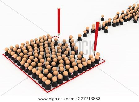 Crowd Of Small Symbolic Businessmen Figures, Red Line Box Draw, 3d Illustration, Horizontal, Over Wh