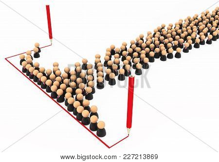 Crowd Of Small Symbolic Businessmen Figures, Red Line Draw, 3d Illustration, Horizontal, Over White,