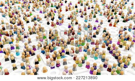 Crowd Of Small Symbolic Figures Among White Numbers, 3d Illustration, Horizontal