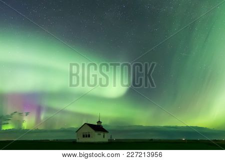 Aurora Borealis Northern Lights Over The Historical North Saskatchewan Landing School Established In