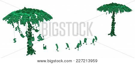 Dollar Money Symbol Two Trees Character Cartoon, 3d Illustration, Horizontal, Isolated, Over White