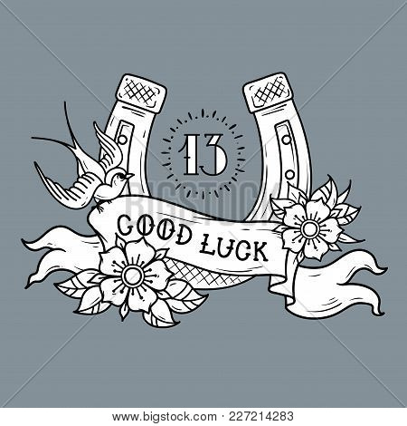 Tattoo Gold Horseshoe With Roses, Swallow, Mystical Number 13 And Ribbon With Lettering Good Luck. S
